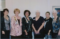 Historian Julie Worth, Regent Sharon Spry, Registrar, Kathy Doddridge Vice Regent, Cindy Russell, DAR Schools Chair, Julie Moore and Treasurer, Margaret Smelser attend Fall Forum